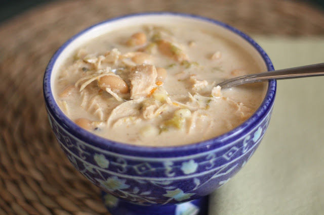 Chicken, White Bean and Green Chile Corn Chowder recipe by Barefeet In The Kitchen