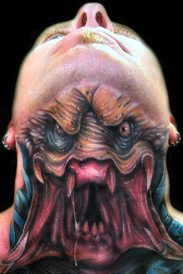 predator neck tattoo