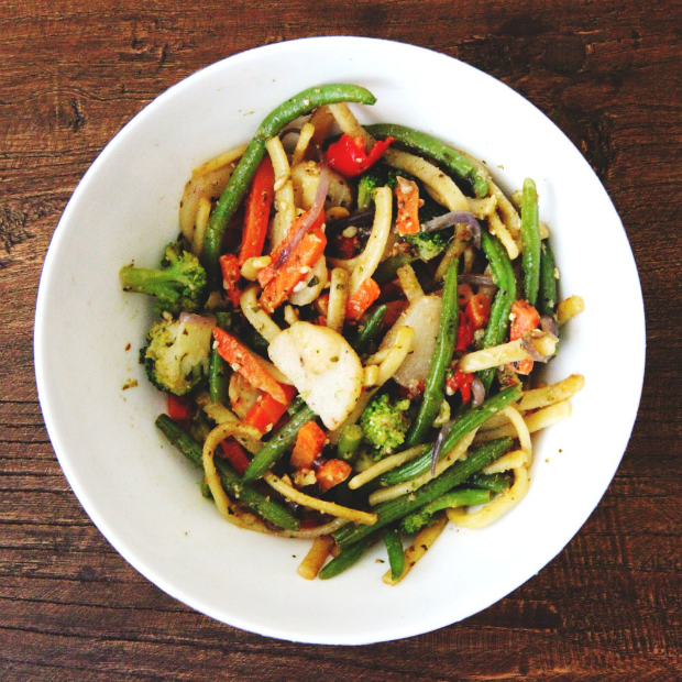 Linguine with Vegetables and Pesto, Tanvii.com