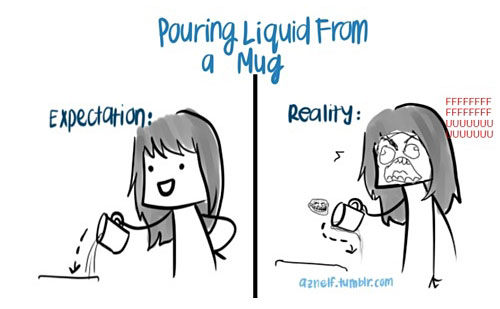 Pouring Liquid From A Mug - Expectation vs Reality