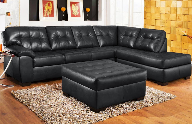 Black Leather Sectional Sofa Living Room
