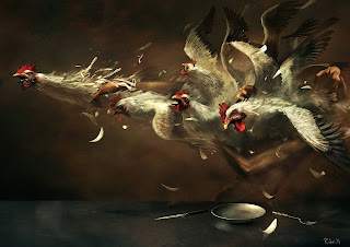 Eat Those Hens Dark Gothic Wallpaper