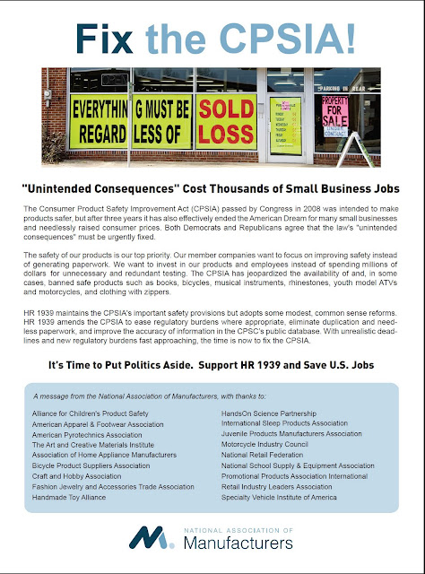 National Association of Manufacturers Ad Campaign regarding HR 1939 lead lomit of 100 ppm