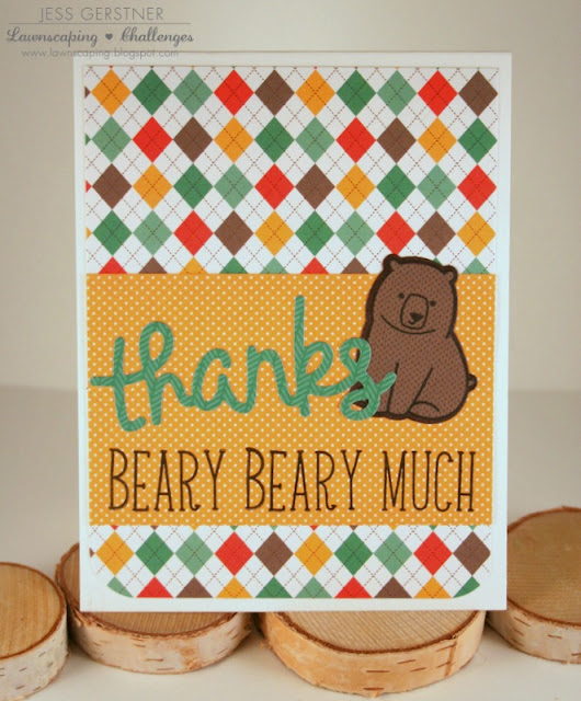Custom Sentiment with Lawn Fawn Violet's ABCs and Scripty Thanks by Jess Crafts