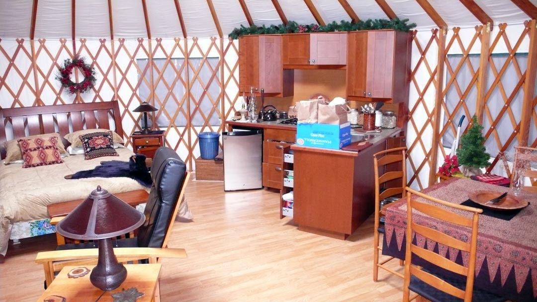 Yurts yurt interior and layout on pinterest for Yurt interior designs