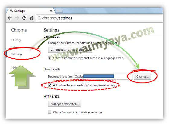 Gambar: Mengatur default folder download di Google Chrome