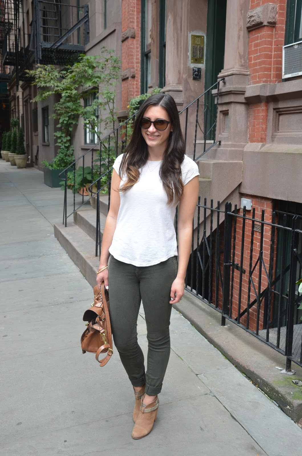 olive pants + cream top