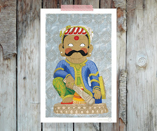 Nyatapola temple   Digital illustration folk wrestler Rajput and mandala pattern by Barbara Bisarello on CoCode Market & Studio