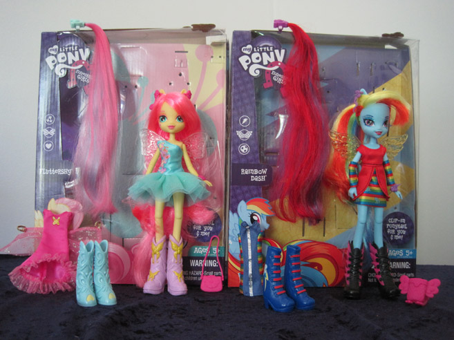 MLP: Equestria Girls deluxe dolls of Fluttershy and Rainbow Dash.