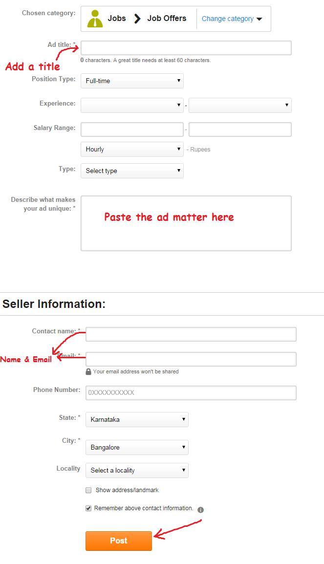 Ad posting form