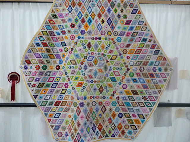 "Friendship Quilt made with 1/4"" hexies, exhibited at Malvern Quilt Show 2013 (maker unknown)"