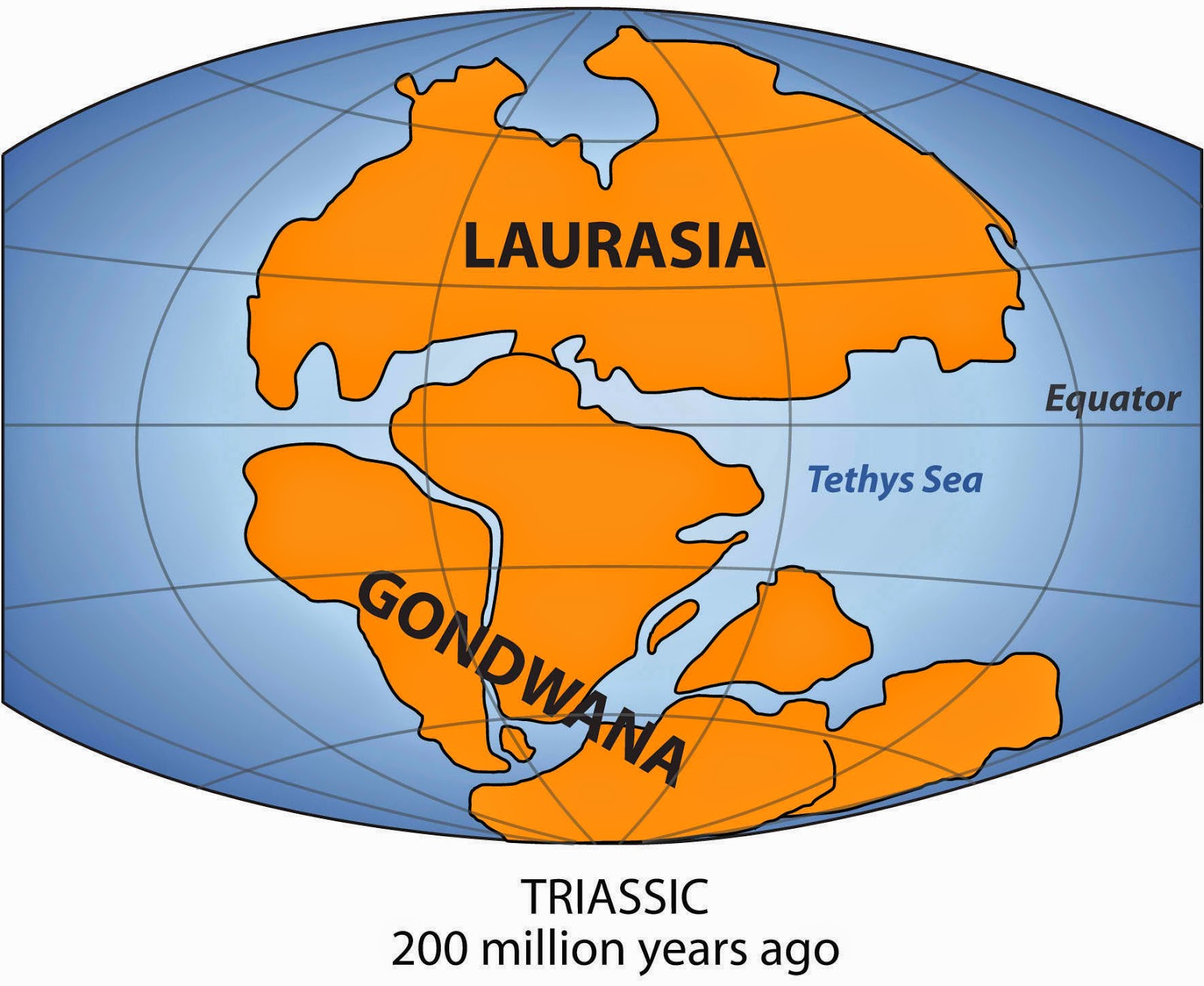 Gondwana during the Triassic period 200 million years ago