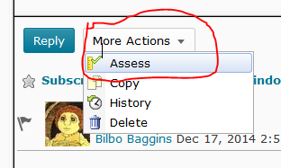 image of More Actions menu for a discussion message with the Assess link indicated.