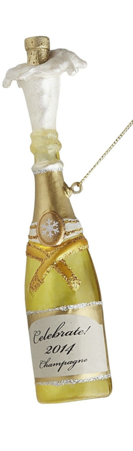 Pier One Glass Champagne Bottle Ornament