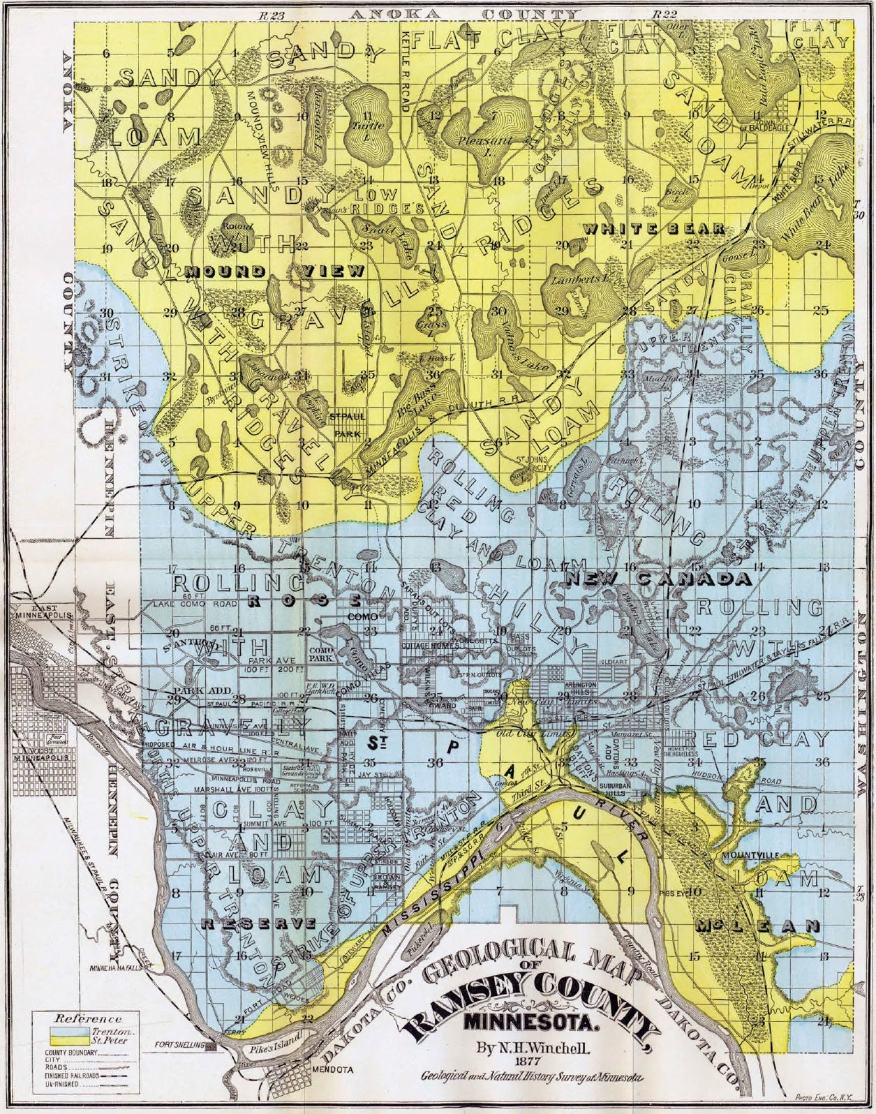 Equatorial Minnesota Historic Twin Cities geologic maps and photos