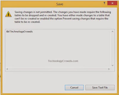 SQL Error: Saving Changes not permitted in SQL Server