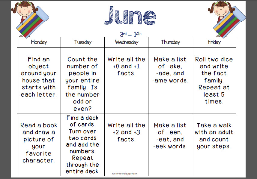 June Calendar Worksheet : Activities for th graders during summer school