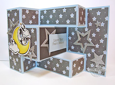 Starry Tri-Fold Shutter Card-designed by Lori Tecler/Inking Aloud-stamps, dies, and cut file from The Cat's Pajamas
