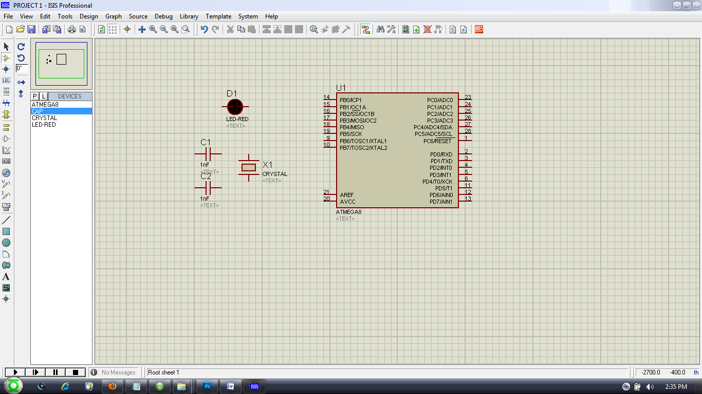 Tech Strong Embedded Systems Tutorial4 Simulating Our First How To Add A Button On Ares Proteus Pcb Design For Power Supply Click Terminal Mode Icon After That Make Connections Using Your Mouse Its Simple Will Give 5v And Ground Can Be Achieved By