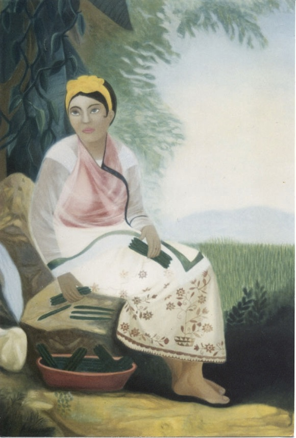 painting of woman working on vanilla bean plantation in Mexico