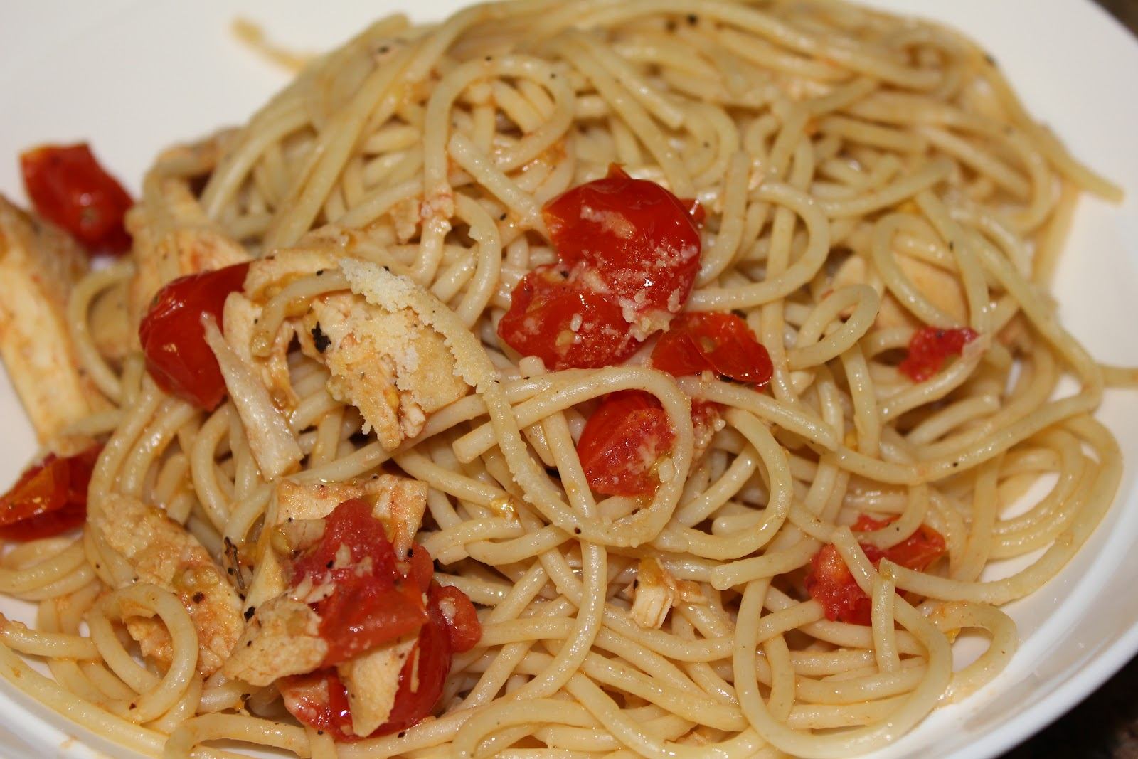 ... made with love: Spaghetti with Sauteed Chicken and Grape Tomatoes