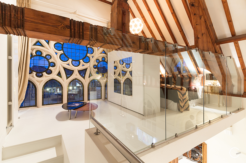 Restored and modern design details in converted church in London