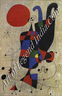"The Great Artist Joan Miro Painting ""Inverted Personages"" 1949 31 ¼ x 21 1/2 Kunstmuseum, Basle"