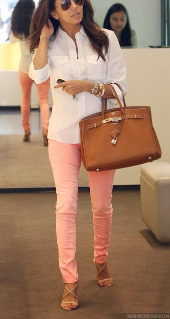 White Button Down Long Sleeve Shirt & Light Pink Skinnies Jeans