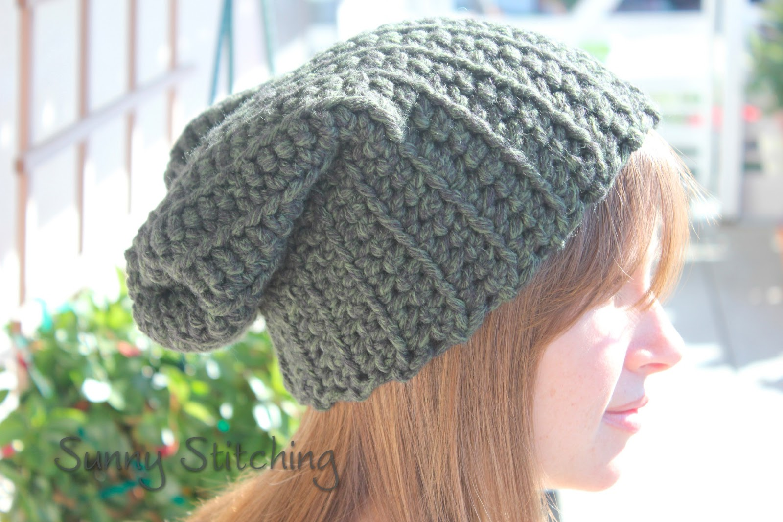 Crocheting Hats Patterns : Crochet Ribbed Slouchy Hat Free Pattern : Sunny Stitching