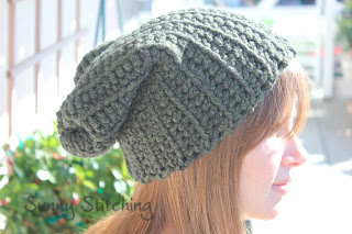 Ribbed Slouchy Beanie free crochet pattern