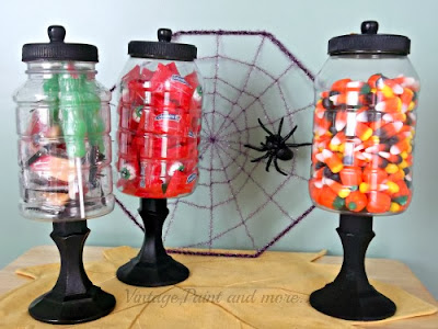candy jars with spider web