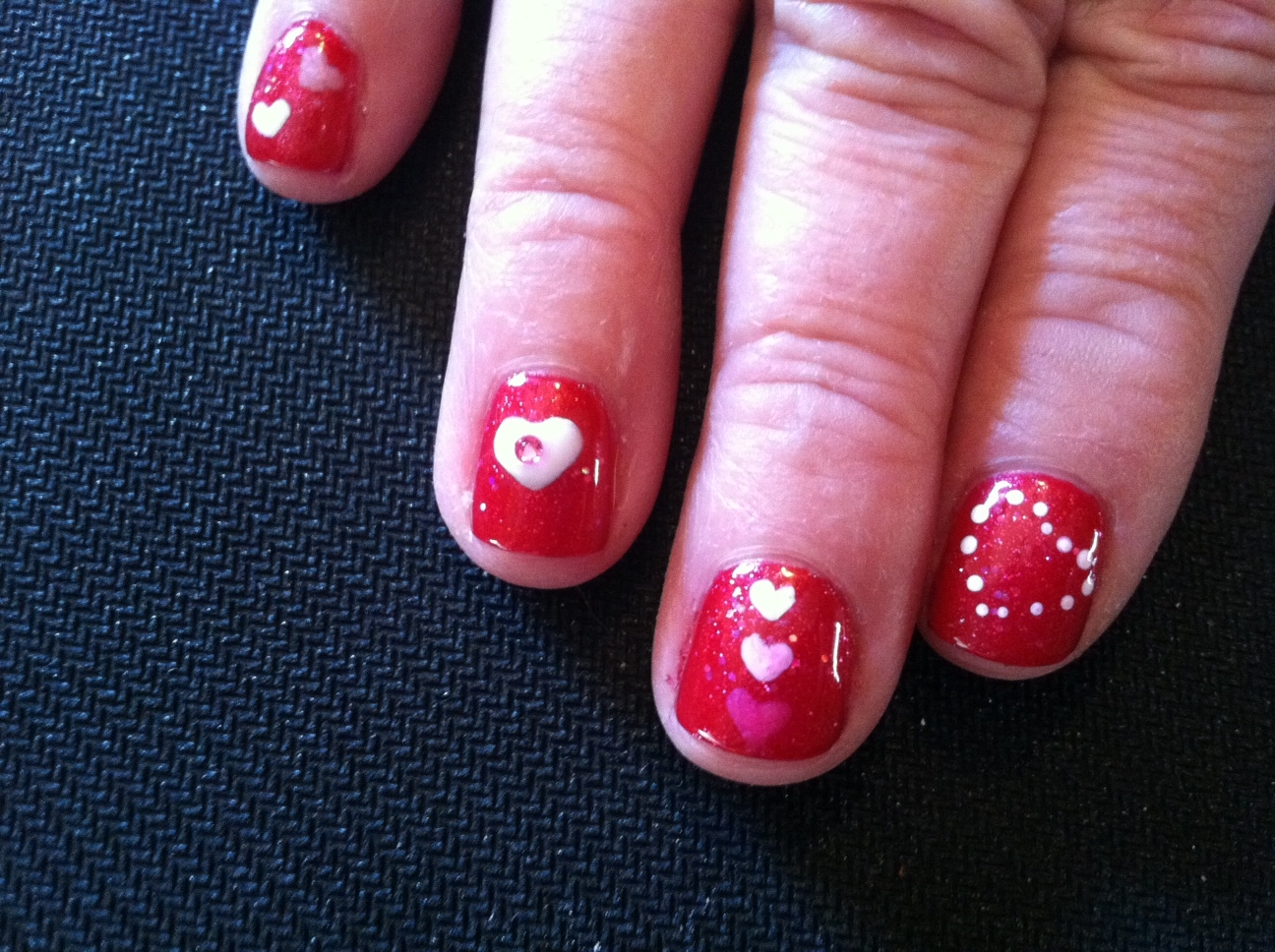 Trishas Nail Designs Red With Pink And White Hearts