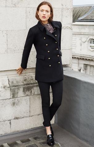 abrigo corto negro Zara mujer