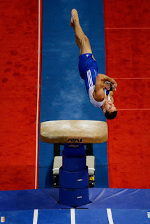 Jake Dalton competes on the vault during day 1 of the 2012 U.S. Olympic Gymnastics Team Trials at HP Pavilion on June 28, 2012 in San Jose, California. (June 27, 2012 - Source: Ronald Martinez/Getty Images North America)