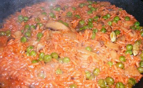 Tandoori Masala Rice With Mushrooms Fish And Peas
