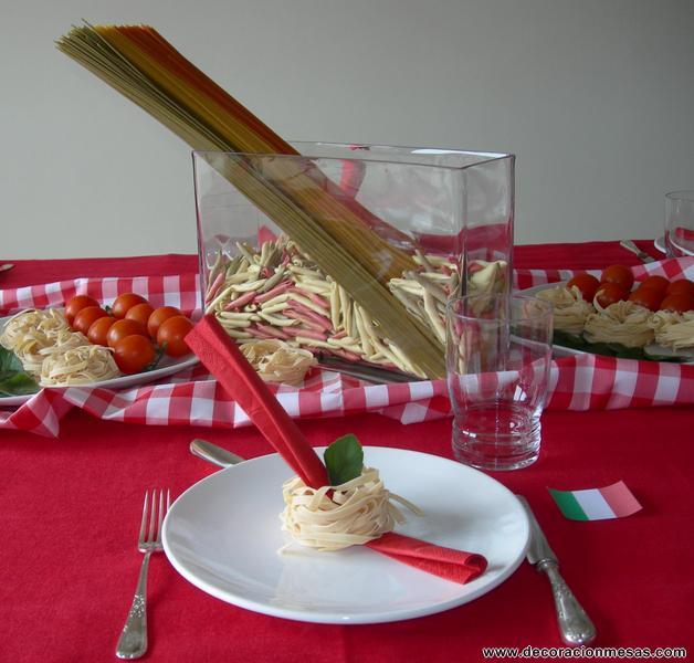Decoracion Italiana Para Fiestas ~ Sobre un mantel rojo puse una tela de cuadros rojos y blancos Para