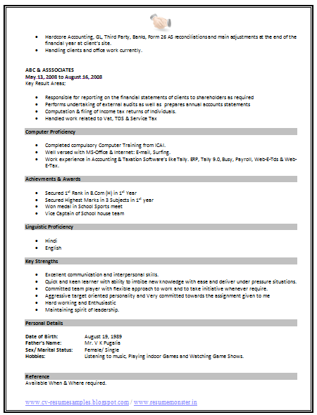... 10000 CV and Resume Samples with Free Download: Standard Format Resume