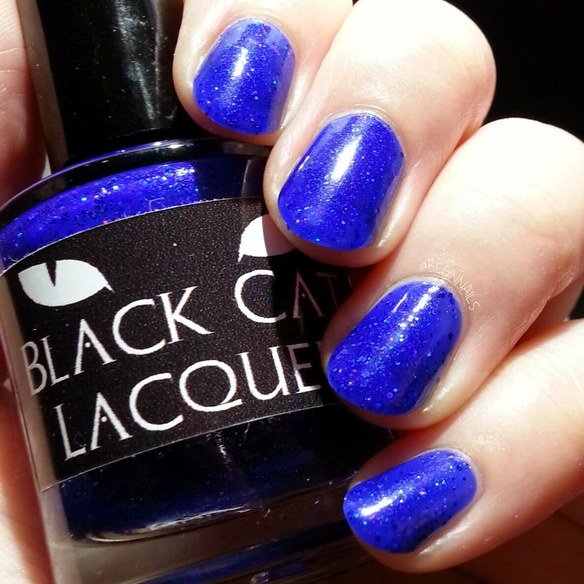 Royal Blue And Contains Iridescent Hex Glitter Photos Show 2 Coats With Shiny Top Coat 1st 2nd Matte 3rd Photo