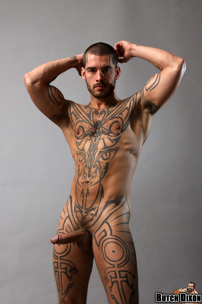 tattooed male porn star naked