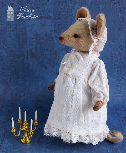мышка, тедди, Офелия, мышь ручной работы, авторская работа