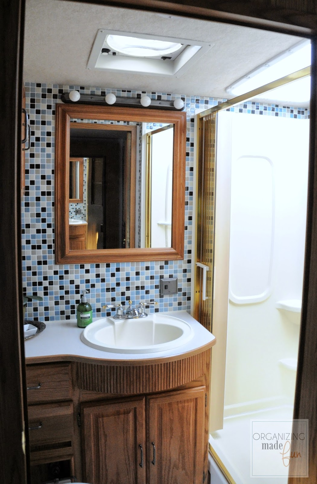 RV bathroom after - tiled with Smart Tiles :: OrganizingMadeFun.com