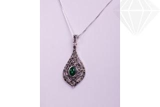 Poza Pandativ argint cu piatra  de agat verde