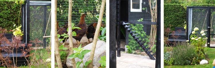 Hjemmebygget hønsegård i sort træ til dværghøns