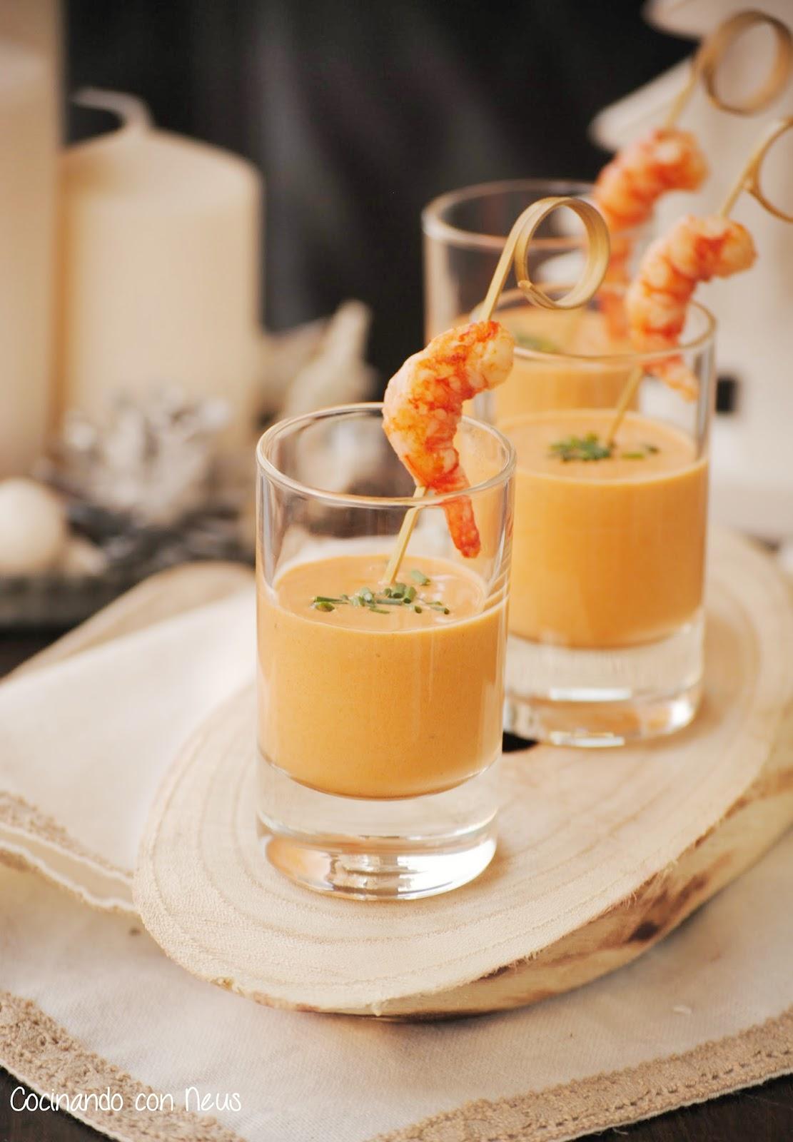 Cocinando con neus aperitivo navidad chupitos de crema - Aperitivos de mariscos ...
