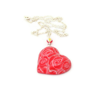 Red Rose Necklace handmade from Polymer Clay Valentine Gifts & Jewellery