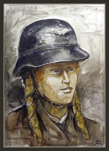 LUFTSCHUTZ-ARTE MILITAR-HELMET-CASCO-DEUSTCHE FRAUEN-WW2-ARTWORK-PAINTINGS-WOMEN-GERMANY-III REICH-PINTURA-SEGUNDA GUERRA MUNDIAL-PINTOR-ERNEST DESCALS-