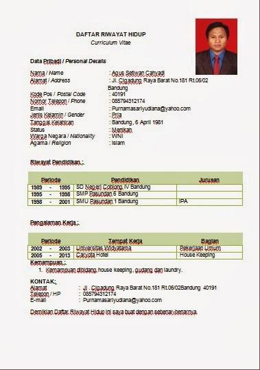 Contoh Curriculum Vitae Terbaru 2014 Do My Essay