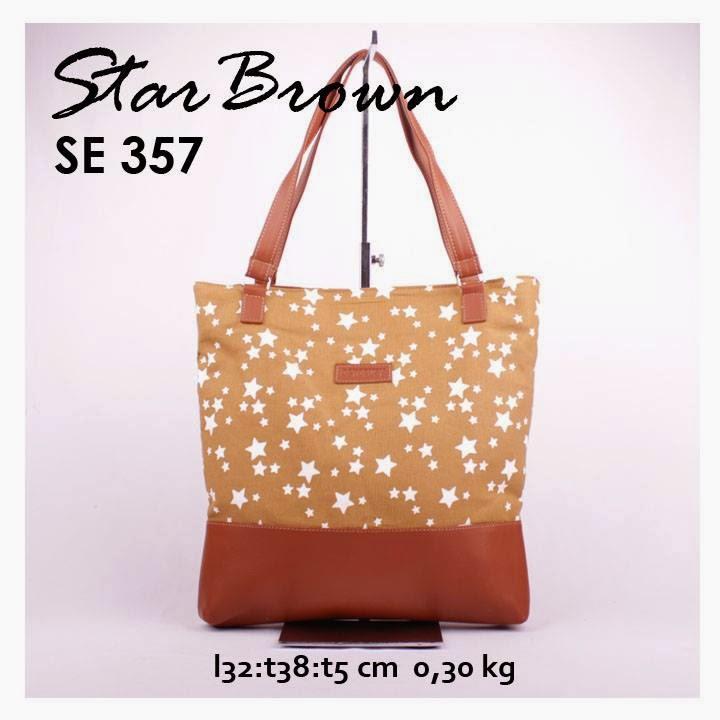 jual online tas handbag kanvas combi sintetis motif star