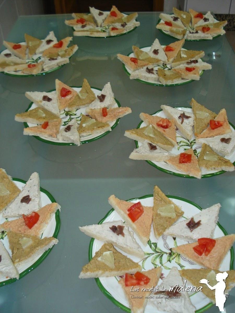 canapés de anchoa, bonito y marisco