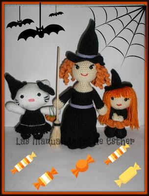 pequeña bruja, bruja Hello Kitty y bruja con escoba amigurui